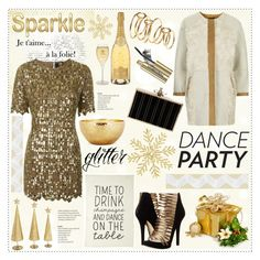 """Winter Dance Party: Gold Edition"" by helenevlacho ❤ liked on Polyvore featuring Topshop, MICHAEL Michael Kors, AERIN, H&M, Napoleon Perdis, contest, gold and danceparty"