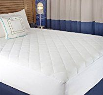 "White Cotton-Poly Hypoallergenic Comfortable Soft - Queen Size Quilted Fitted Mattress Pad Cover 60"" x 80"" - Up To 20"" Deep"