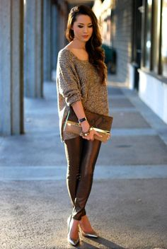 All about chocolate-hued metallic accents this winter! Style inspiration via Hapa Time.