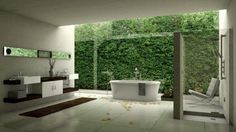 Nature Bathroom With Wall Plants