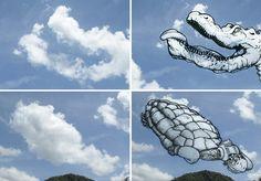 Ilustrador usa a criatividade para transformar nuvens em diversas figuras