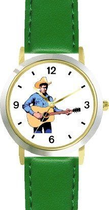 Country Western Singer Playing Guitar 2 Musician - WATCHBUDDY® DELUXE TWO-TONE THEME WATCH - Arabic Numbers - Green Leather Strap-Size-Children's Size-Small ( Boy's Size & Girl's Size ) WatchBuddy. $49.95