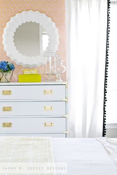 sarah m. dorsey designs: White + Brass Campaign Dresser + Game Changing Tips for Painting Furniture