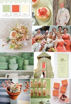 Gia Graham Color Palette: Mint, Coral and Ivory - Southern Weddings - Southern Weddings Magazine Peach Mint Wedding, Coral Wedding Colors, Wedding Color Schemes, Ivory Wedding, Wedding Bells, Wedding Flowers, Wedding Themes, Our Wedding, Dream Wedding