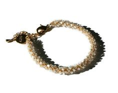 Pulsera de semillas del grano, boho oro pulsera apilamiento delicada, joyas de ganchillo de hilo de cuentas