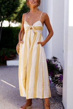 Bow Knot Yellow Cami Stripe Jumpsuit – streetmia Rompers Women, Jumpsuits For Women, Jumpsuit Outfit Dressy, Summer Jumpsuit, Pant Romper Outfit, Yellow Jumpsuit, Sequin Jumpsuit, Dress Summer, Pant Jumpsuit