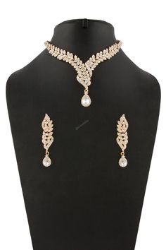 Buy Golden Crystal Studded Necklace Online - Jewellery for Women from Andaaz Fashion at best prices. Indian Jewelry Sets, Indian Jewellery Online, Bridal Jewelry Sets, New Designer Dresses, Designer Sarees Online, Designer Wear, Latest Fashion Design, Current Fashion Trends, Earrings With Price