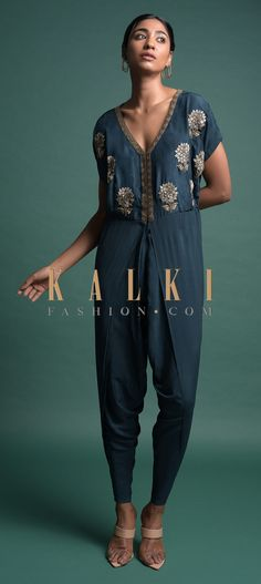 Buy Online from the link below. We ship worldwide (Free Shipping over US$100)  Click Anywhere to Tag Teal-Dhoti-Style-Jumpsuit-In-Crepe-With-Embroidered-Floral-Motifs-Online-Kalki-Fashion Crop Top Dress, Tarun Tahiliani, Anamika Khanna, Floral Motif, Salwar Kameez, Indian Fashion, Fashion Dresses, Teal, Jumpsuit