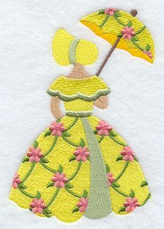 Umbrella Girl in Floral Print design (F2652) from www.Emblibrary.com