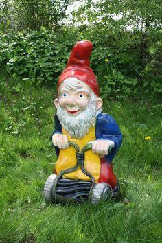 Gartenzwerg mit Rasenmäher #garden #gnome #garden #goblin #lawn #gnome #Gartenzwerg