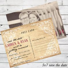 Vintage postcard save the date, photo card option :: DIY printable #diywedding