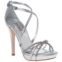 BADGLEY MISCHKA Gelsey Evening Sandal Silver Leather found on Polyvore