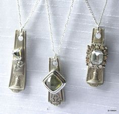 Jewelry Made From Old Silverware | these were made with watch parts