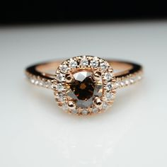 Unique Cognac Brown Diamond Engagement Ring in 14k Rose Gold  Layaway Available