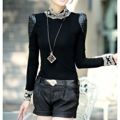 Black Puff Sleeves Lace Splicing Stand Neck Thicken Blouse $29.99