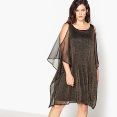 Metallic Cold Shoulder Dress