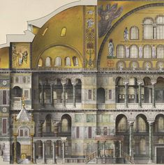 Santa Sofía Antoine Helbert Reconstruction, plans, elevations and sections of Byzantine monuments; Constantinople, to century Architecture Antique, Byzantine Architecture, Architecture Drawings, Classical Architecture, Historical Architecture, Architecture Details, Byzantine Art, Hagia Sophia, Ancient Rome