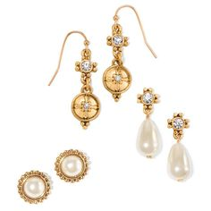 """Goldtone pearlesque 3 piece set. Two pairs are drop earrings with crosses and one pair are studs.· Round studs: Pierced, 1/2"""" with Post and Bullet clutch· Pearl drop earrings: Pierced, 1"""" L x 5/16"""" W with Post and Bullet clutch· Cross and round casting: Pierced, 1"""" L x 5/16"""" W with Fish Hook with rubber stopper clutch· Imported  https://lmangat.avonrepresentative.com/"""