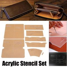 1 x Acrylic Stencil Set. Application: For Leather Handcraft. Suitable for professional DIY make more styles wallets. Designed to make a half-open clutch with zipper closure. Exhaust Hose 6 Dia / Window Adaptor/Window Silde Kit Plate For Air Conditioner. Diy Leather Craft Tools, Leather Projects, Diy 2019, Leather Wallet Pattern, Handbag Patterns, Leather Bags Handmade, E Bay, Stencil, Creations