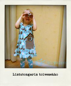 A birdhouse dress for a child:http://kolttu.blogspot.fi/2014/01/linnunpontto.html
