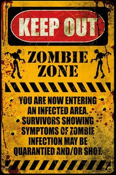 Zombie Keep Out Poster Walking Dead Print Wall Art Large Maxi Theme Halloween, Halloween Signs, Spooky Halloween, Halloween 2020, Halloween Ideas, Zombie Apocalypse Survival, Anniversaire Walking Dead, Zombie Decorations, Keep Out