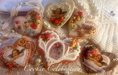 Vintage Valentines (Cookie Celebration) Piping, wafer paper, hand painting