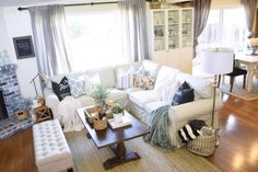 airy cozy comfy family room. Our new Ikea ektorp sectional couch + first impressions | almafied.com