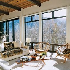 54 Cozy living spaces with expansive snowy views! (image via Vogue Magazine)