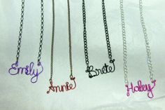 Personalized Wire Name Necklace by JenBeeCardCo on Etsy, $19.00