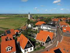 Netherlands. View on a part of the village Den Hoorn (460 inhabitants) on the Wadden-isle Texel. Image made with kite and camera.