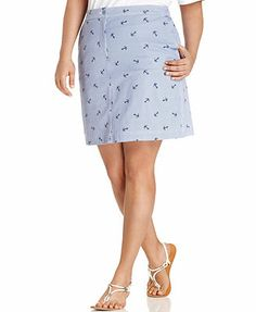 Karen Scott Plus Size Striped Anchor-Print Skort