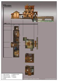 New science fiction building sword art Ideas Fantasy City, Fantasy House, Fantasy Places, Fantasy Map, Environment Sketch, Environment Design, Building Map, Dungeon Maps, Le Moulin