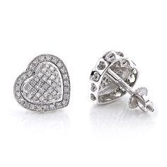 Diamond Heart Earrings Studs: 10k Gold Pave Diamonds 0.5ct