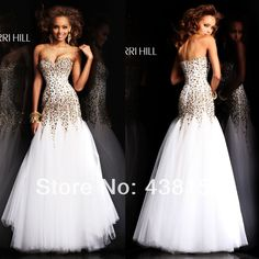Free Shipping Sexy Sweetheart Sleeveless Tulle Crystal Tulle White Mermaid Prom Dresses 2014 $205.00 contact me: belladress@163.com