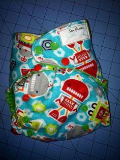Robot Pocket Cloth diaper by SewGreene on Etsy, $16.00