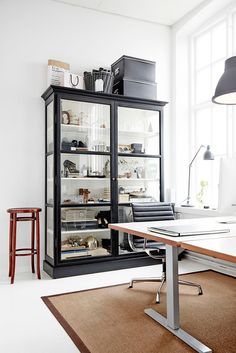 The cabinet from Lindebjerg Design formed the key element of the design of this beautifully designed monochromatic studio space in Sweden. Home Office, Office Decor, Office Inspiration, Ikea, My Living Room, Interiores Design, China Cabinet, Interior And Exterior, Home Accessories