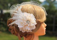Flower Feather Birdcage Veil-Large Ivory Flower Wedding Veil-Wedding Headpiece on Etsy, $68.00