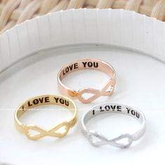 brushed INFINITY- i love you ring