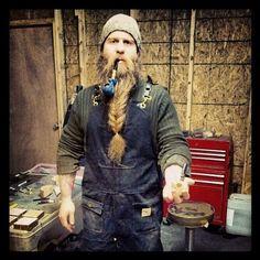 thegentlemanbeard - long full beautiful thick beard in a braid mustache beards bearded man men braided length natural garage mechanic pipe smoke smoker smoking handsome #beardsforever
