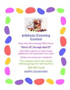 March 25th through April 8th, there will be a #Jelly Bean #Contest at Old Orchard #Apartments. #Residents can hop into the leasing office guess how many jelly beans are in the jar. The resident who is closest without going over will win a $50 #gift card. Make sure you like your guess because you can only enter one time. Good luck! https://www.facebook.com/OldOrchardApts