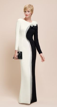 Spring/Summer 2014 Paule Ka- Long dress in satin-backed crepe. Someone wanna buy this for me? Elegant Outfit, Elegant Dresses, Vintage Dresses, Wedding Dress Necklines, Wedding Dress Sleeves, Pretty Prom Dresses, Column Dress, Beautiful Gowns, Classy Outfits