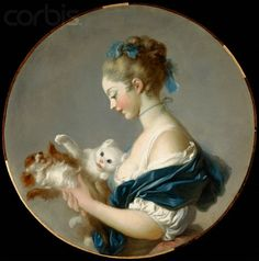 Jean-Honoré Fragonard - Girl Playing with a Dog and a Cat, ca. 1775-1790 (A portrait said to be of Marie-Madeleine Colombe, a Venetian-born actress who was popular in late 18th-century Paris)