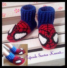 Slippers crochet...spiderman.