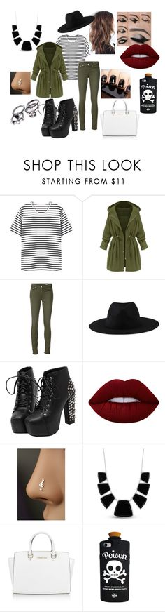 """""""Untitled #92"""" by kora-muffin on Polyvore featuring rag & bone/JEAN, Element, Lime Crime, Karen Kane, Michael Kors and Valfré"""