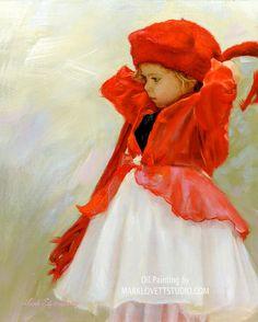 """""""Red Cap Girl"""" Original Oil Painting"""
