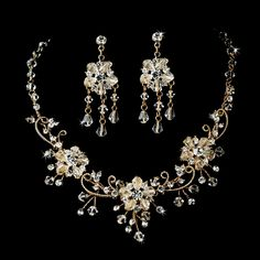 Stunning Swarovski Crystal Gold Jewelry Set