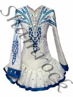 Shamrock Stitchery Irish Dance Solo Dress Costume - White with Blue trim/detail