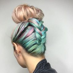 2-turquoise-and-pastel-pink-top-knot-updo