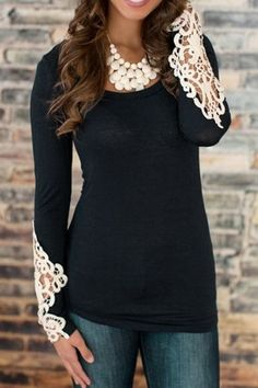Scoop Neck Lace Splicing Openwork T-Shirt with cream colored statement necklace
