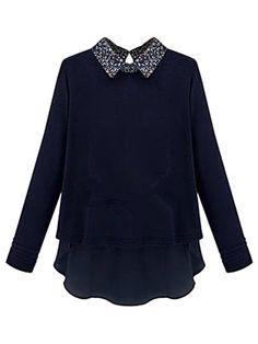 Navy High-low Shirt With Print Collar